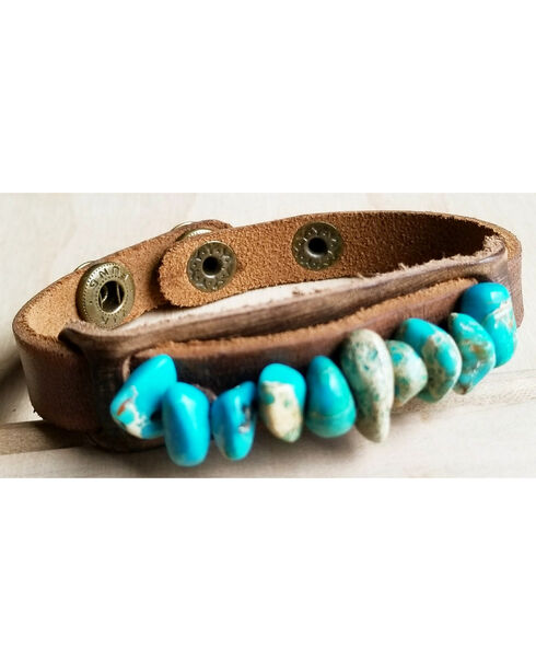 Jewelry Junkie Dusty Leather Narrow Cuff with Turquoise Regalite Stones, Turquoise, hi-res