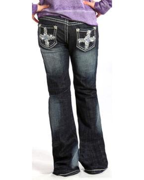 Rock & Roll Cowgirl Girls' Crystal Embellished Jeans - Boot Cut , Indigo, hi-res