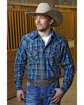 Cinch Men's Modern Fit Plaid Plain Weave Western Snap Shirt, Multi, hi-res