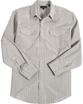 Panhandle Men's Grey Striped Print Western Shirt , Grey, hi-res