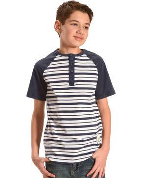 Silver Boys' Navy Raglan Striped Henley Tee , Navy, hi-res