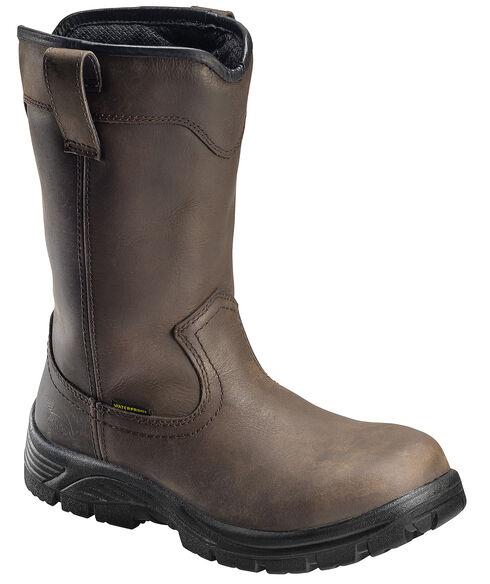 Avenger Men's Brown Waterproof Wellington Work Boots - Composition Toe, Brown, hi-res