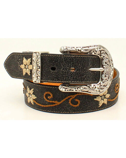 "1 1/2"" EMBROIDERY FLORAL BELT, Black, hi-res"