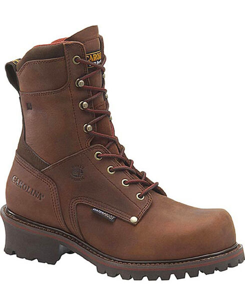 "Carolina Men's Brown Rex Logger 9"" Logger Boots - Steel Toe , Brown, hi-res"
