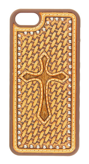 Nocona Basketweave Hair-On Cross iPhone 5 and 5S Case, Tan, hi-res
