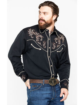 Scully Men's Embroidered Long Sleeve Western Shirt , Black, hi-res