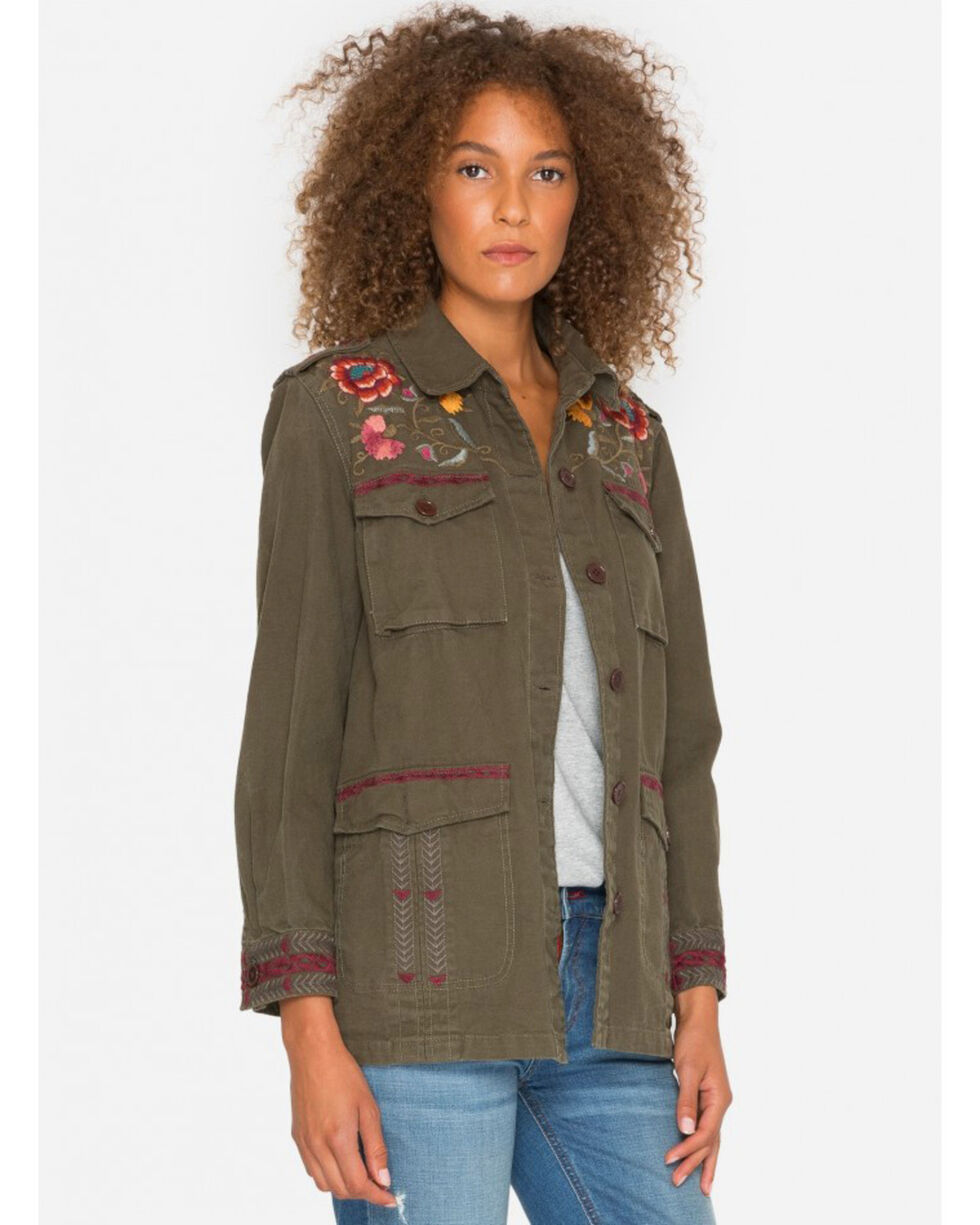 Johnny Was Women's Olive Bonnie Drawstring Military Jacket , Olive, hi-res