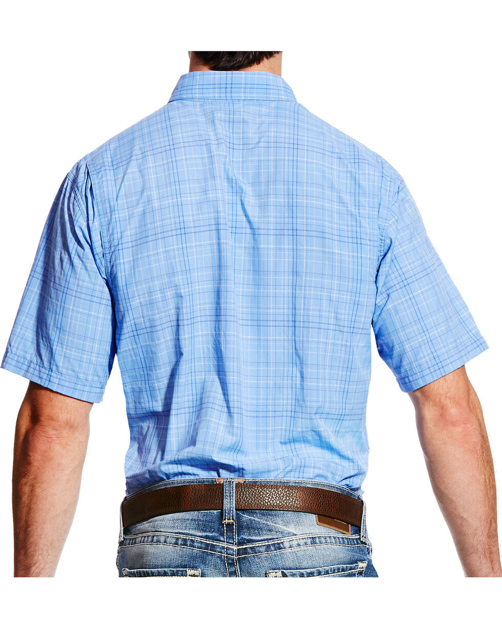 Ariat Men's Blue Plaid VentTEK II Shirt , Light Purple, hi-res