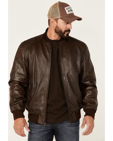 Scully Men's Brown Ribbed Zip-Front Leather Bomber Jacket , Brown, hi-res