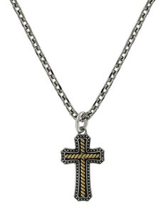 Montana Silversmiths Two Tone Stainless Cross Necklace, Silver, hi-res