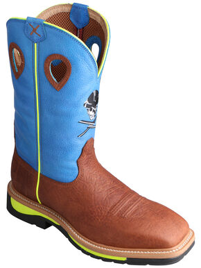 Twisted X Neon Blue Lite Cowboy Work Boots - Soft Square Toe, Brown, hi-res