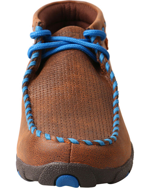 Twisted X Women's Brown with Blue Lacing Driving Moccasins, Brown, hi-res