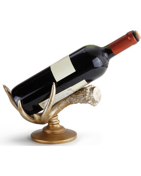 Demdaco Antler Wine Bottle Holder , Gold, hi-res