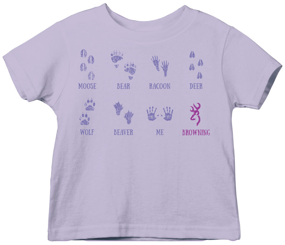 Browning Toddler Girls' Lavender Baby Tracks Short Sleeve Tee , Lavender, hi-res