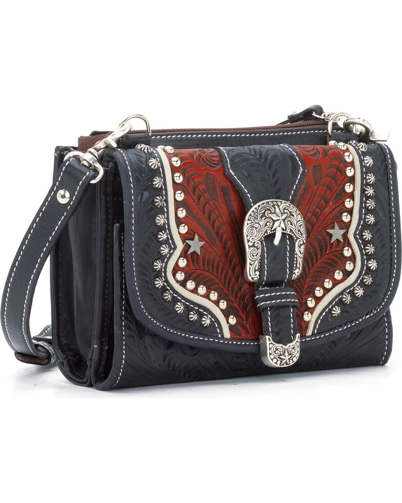 American West Women's Texas Two-Step Mini Crossbody Bag, Red, hi-res