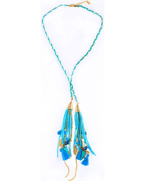 Sincerely Mary Women's Rhae Braided Tassel Necklace, Blue, hi-res