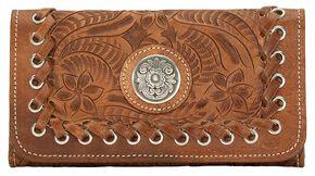American West Harvest Moon Tri-Fold Leather Wallet, Saddle Tan, hi-res