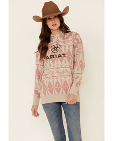 Ariat Women's Blush R.E.A.L Southwest Aztec Print Hoodie , Blush, hi-res