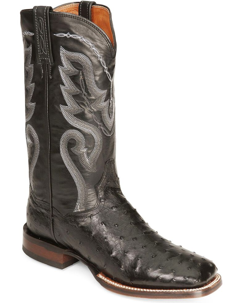 8c715429ce6 Dan Post Full Quill Ostrich Cowboy Certified Cowboy Boots - Wide Square Toe