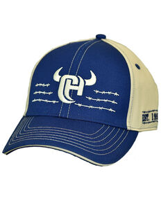 Cowboy Hardware Men's Navy Barbed Wire Logo Embroidered Ball Cap , Navy, hi-res