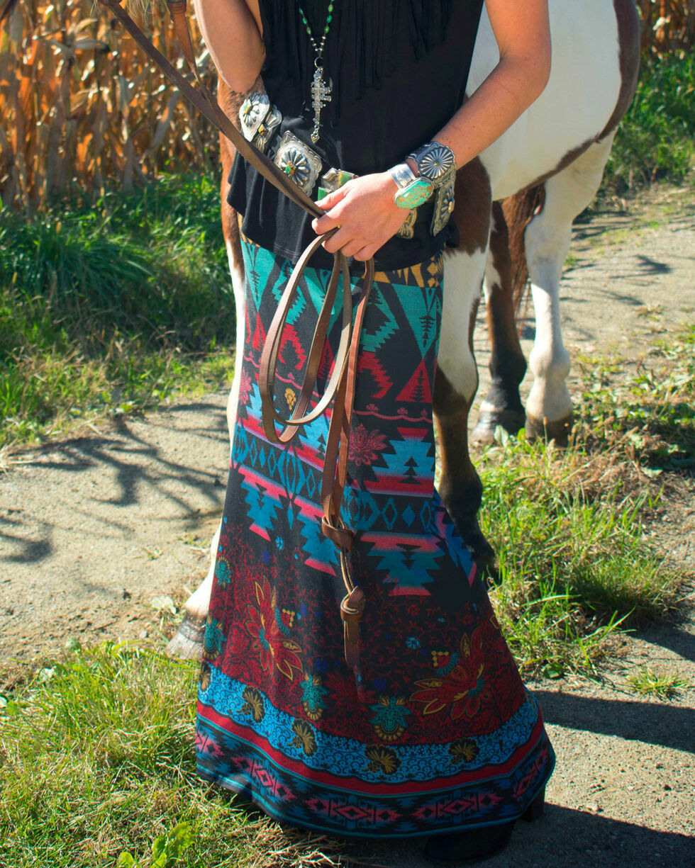 Tasha Polizzi Women's Black Azteca Skirt , Black, hi-res