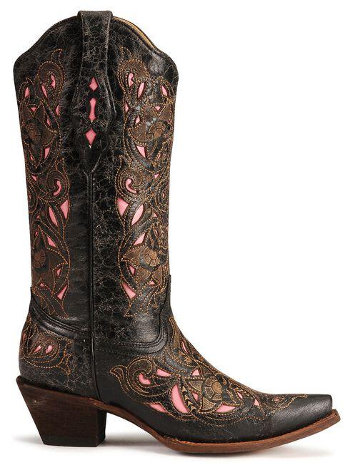Corral Women's Laser Pink Inlay Cowboy Boots - Snip Toe, Black, hi-res