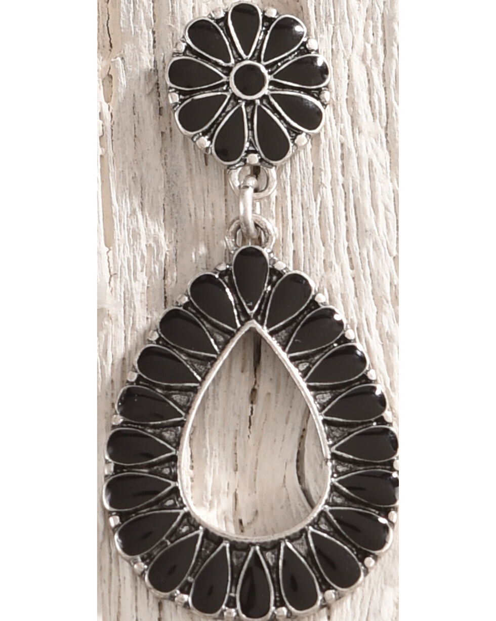 Shyanne Women's Floral Concho Teardrop Earrings, Silver, hi-res
