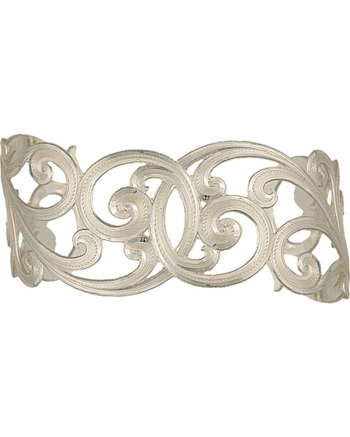 Montana Silversmiths Western Lace Scallop Cuff Bracelet, Silver, hi-res
