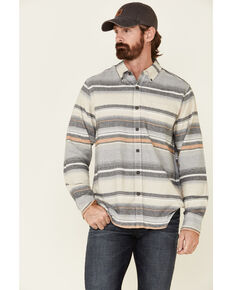 North River Men's Grey Birch Striped Long Sleeve Western Flannel Shirt , Grey, hi-res