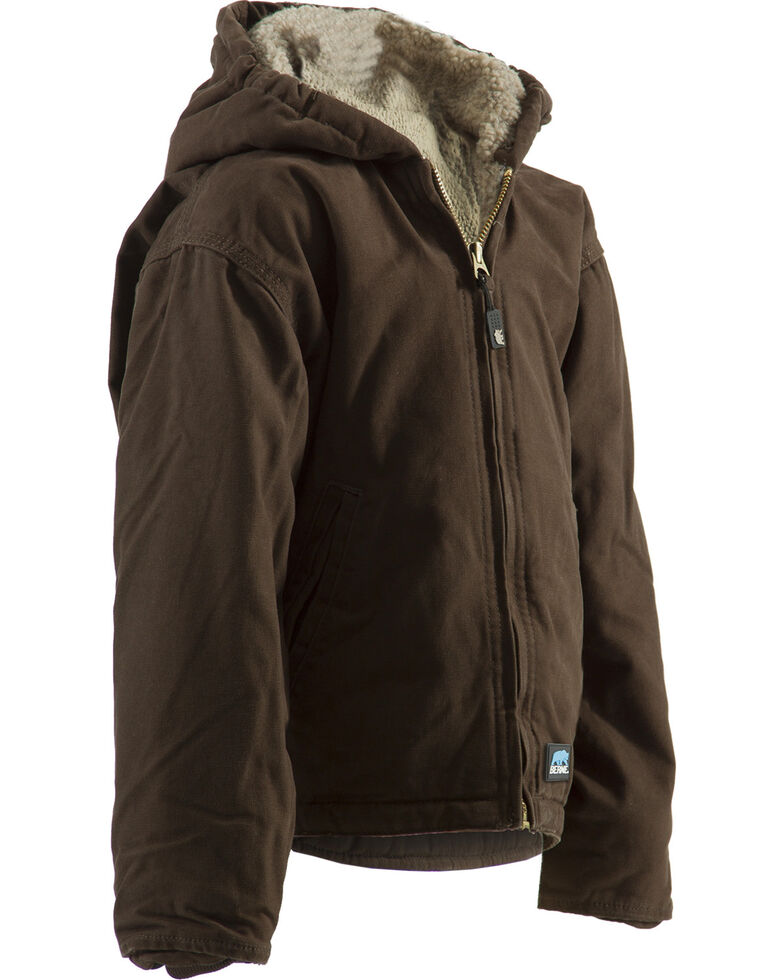 Berne Boys' Washed Sherpa-Lined Hooded Jacket, Bark, hi-res