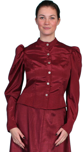 WahMaker by Scully Women's Classic Old West Blouse, Burgundy, hi-res