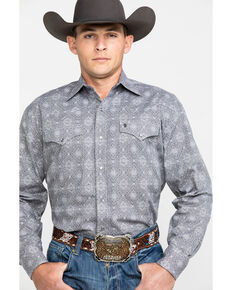 Stetson Men's Gray Medallion Print Long Sleeve Western Shirt , Grey, hi-res