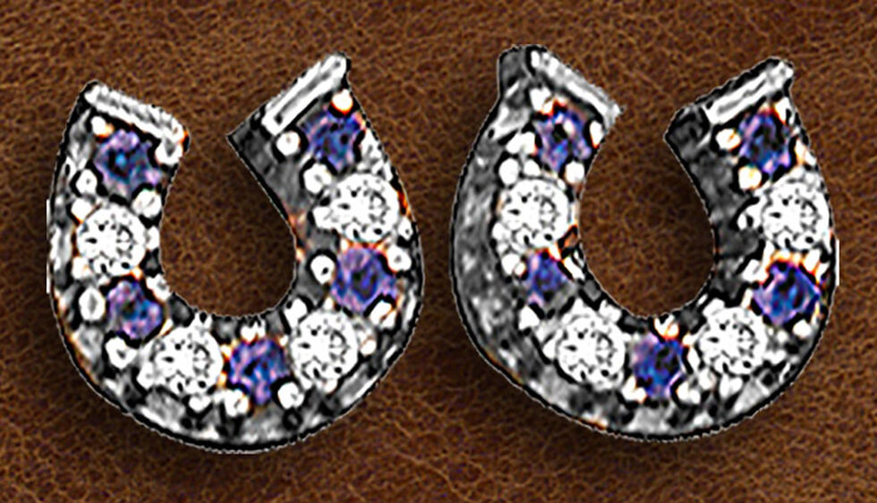 Kelly Herd Sterling Silver Blue Horseshoe Earrings , Silver, hi-res