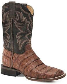 Roper Men's Cody Exotic Caiman Skin Western Boots - Wide Square Toe, Brown, hi-res