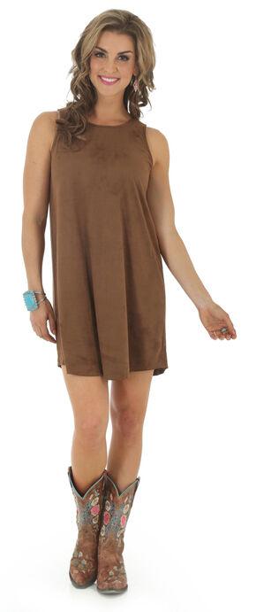 Wrangler Women's Faux Suede Shift Dress, Brown, hi-res