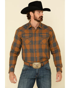 Ariat Men's Hayward Retro Large Plaid Long Sleeve Western Shirt , Brown, hi-res