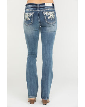 Grace in LA Women's Medium Mid-Rise Floral Bootcut Jeans, Blue, hi-res