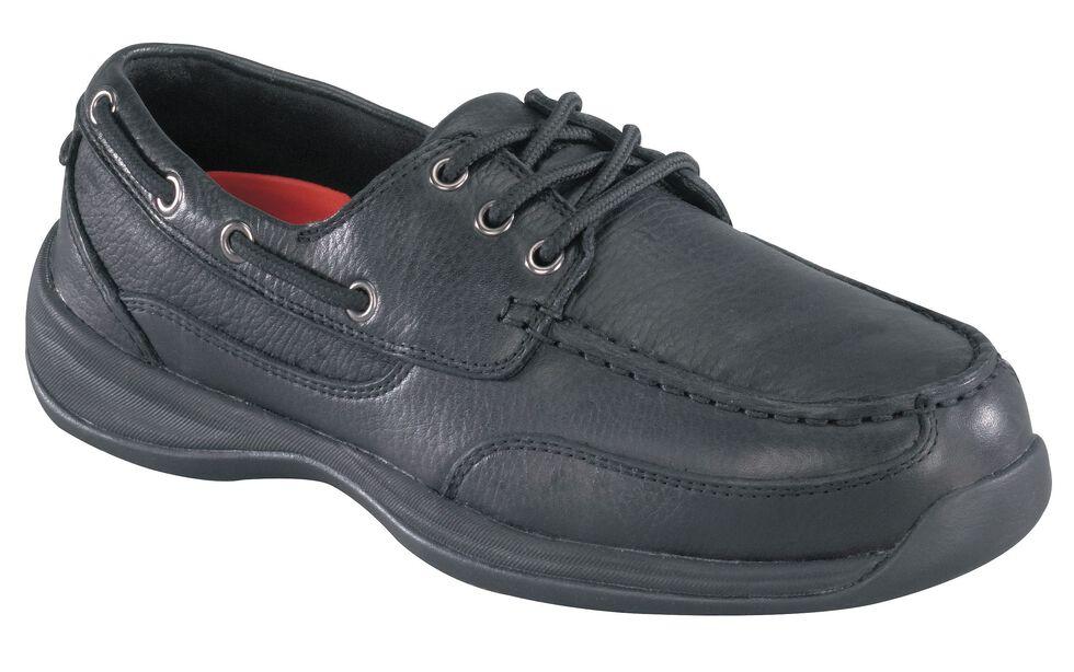 Rockport Works Sailing Club Black Boat Shoes - Steel Toe, Black, hi-res
