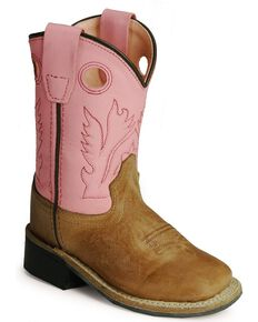 Old West Toddler Girls Pink Cowgirl Boots Square Toe Tan Hi Res