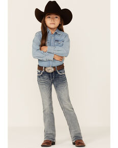 Grace In LA Girls' (4-6X) Medium Wash Pink Border Pocket Bootcut Jeans , Blue, hi-res
