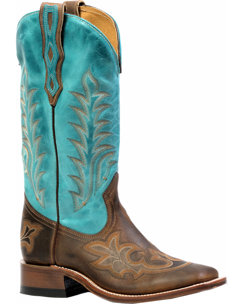 Boulet Hillbilly Golden West Turqueza Cowgirl Boots - Square Toe, , hi-res