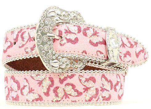 Blazin Roxx Girls' Butterfly Embroidered Belt, Pink, hi-res
