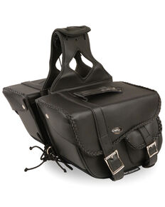 Milwaukee Leather Medium Braided Throw Over Saddle Bag, Black, hi-res