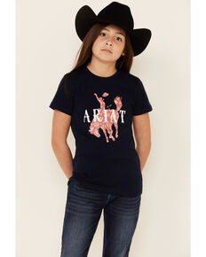 Ariat Girls R.E.A.L Unbridled Bucking Horse Graphic Short Sleeve Tee , Navy, hi-res
