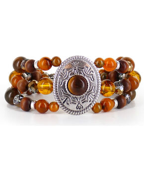 Shyanne® Women's Beaded Silver Concho Bracelet, Brown, hi-res