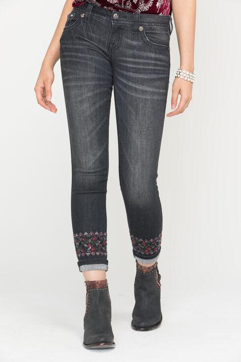 Miss Me Women's Distressed Black Skinny Cuffs Jeans, Black, hi-res