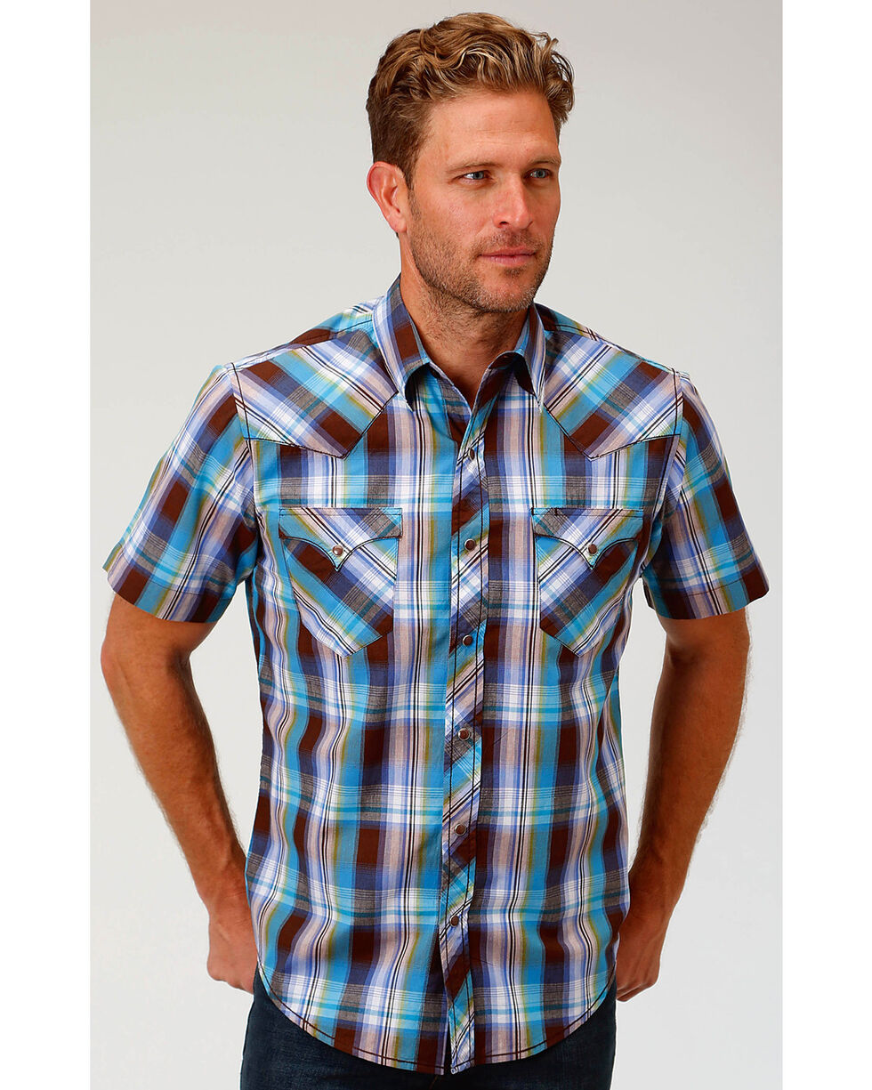 Roper Men's Brown Mallard Plaid Short Sleeve Shirt , Brown, hi-res