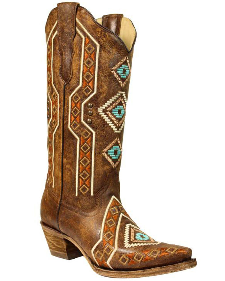 6d58bb1eabe Corral Women's Aztec Embroidered Cowgirl Boots - Snip Toe