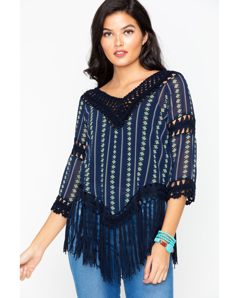 Cowgirl Up Womens Printed Crochet Fringe Top Sheplers