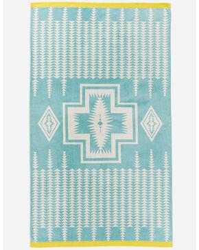 Pendleton Harding Aqua Jacquard Oversized Spa Towel, Aqua, hi-res